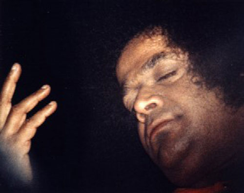 Sri Sathya Sai Baba with eyes closed