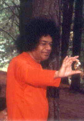 Sai Baba in forest with lingham