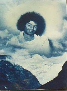Sathya Sai Baba imposed over image of Himalayas